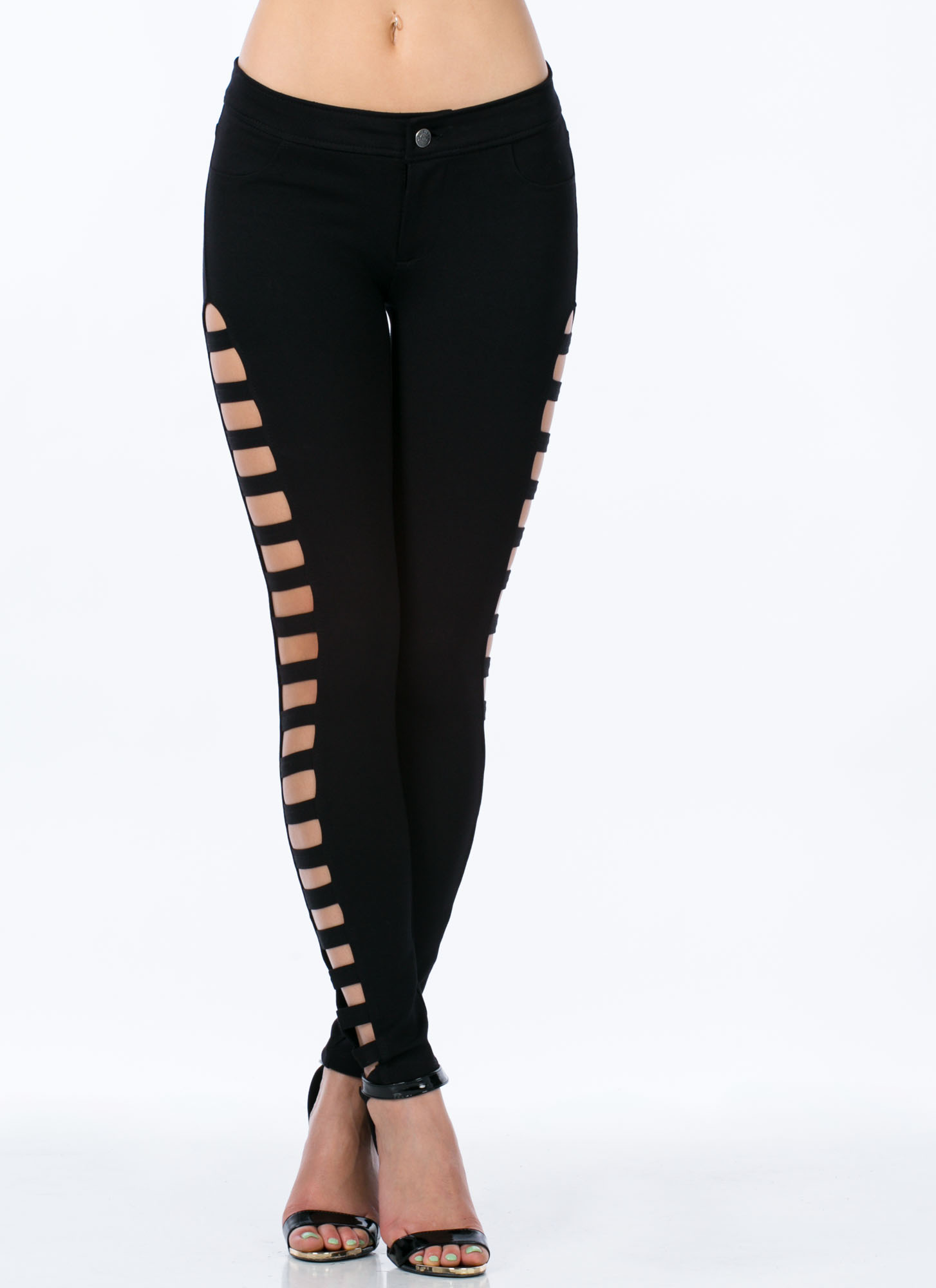 Ladder Rinse Repeat Cut-Out Skinnies BLACK