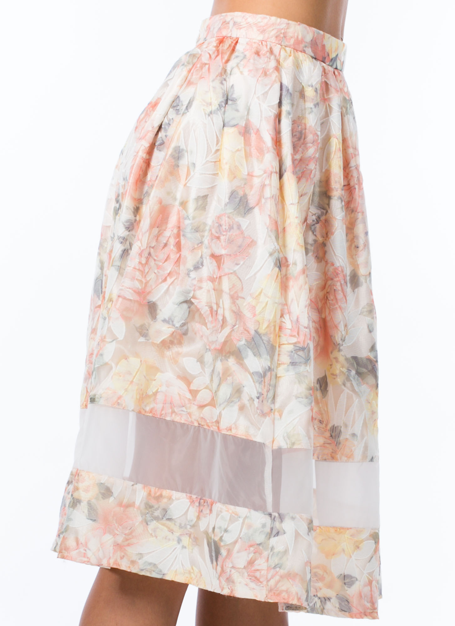 Sheer Pressure Organza Skirt PEACH