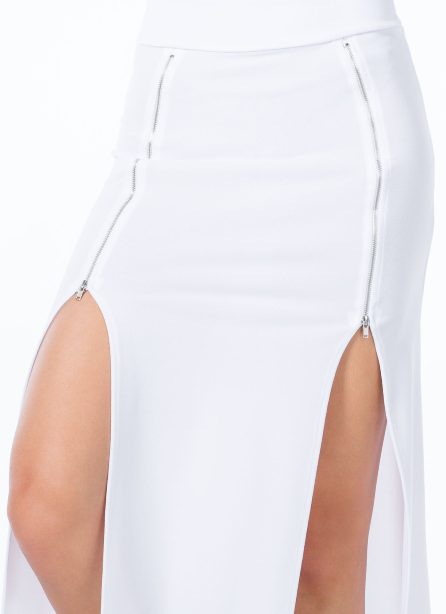 Double Zipper Slit Maxi Skirt WHITE