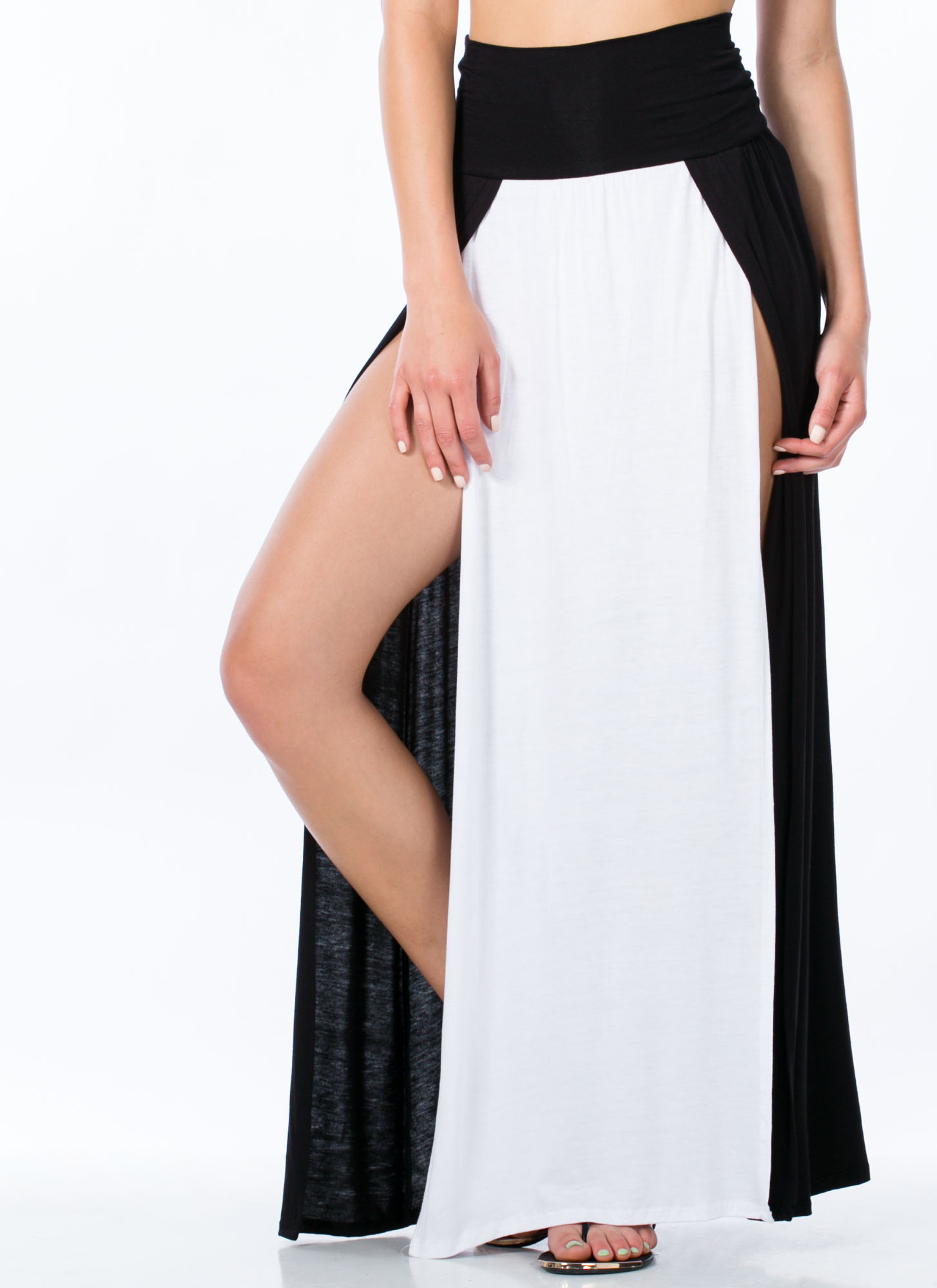 Double Slit Colorblock Maxi Skirt WHITE