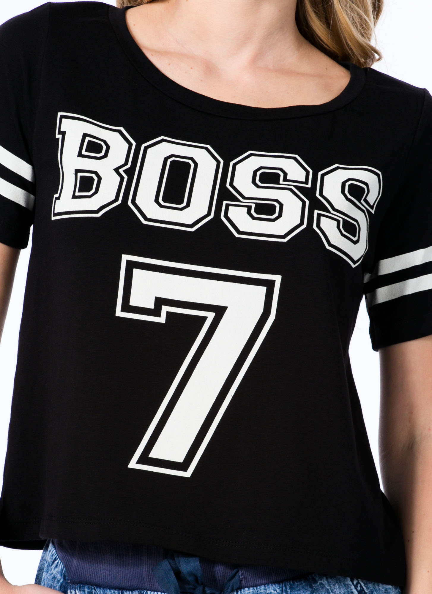 Show Who's Boss 7 Sporty Jersey Tee BLACK