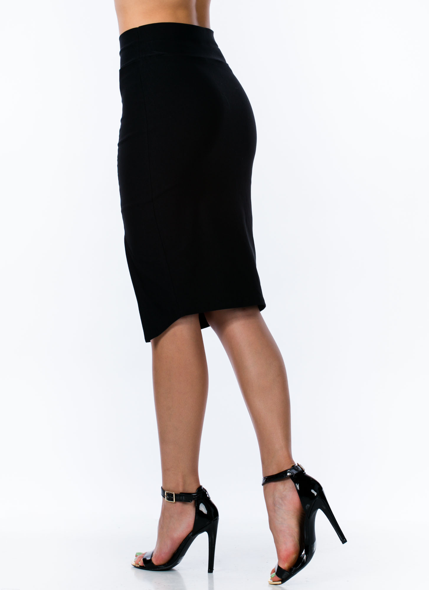 Business 'N Pleasure Slit Pencil Skirt BLACK