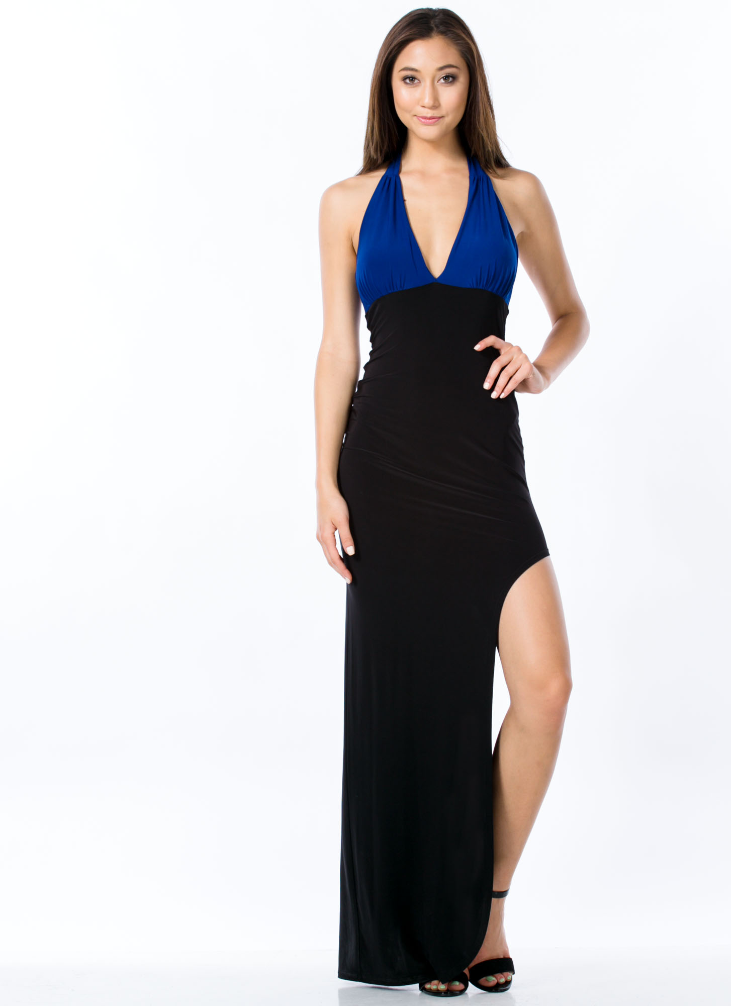 Colorblock Halter Maxi Dress ROYAL