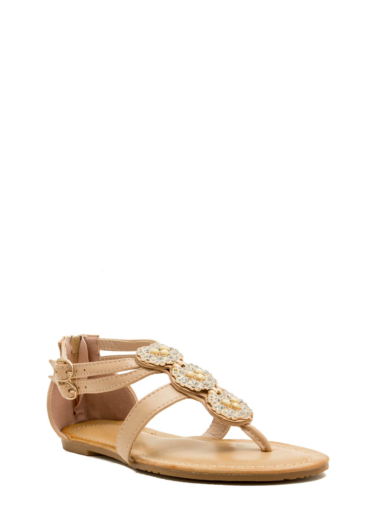 Measure In Jewels Thong Sandals NUDE
