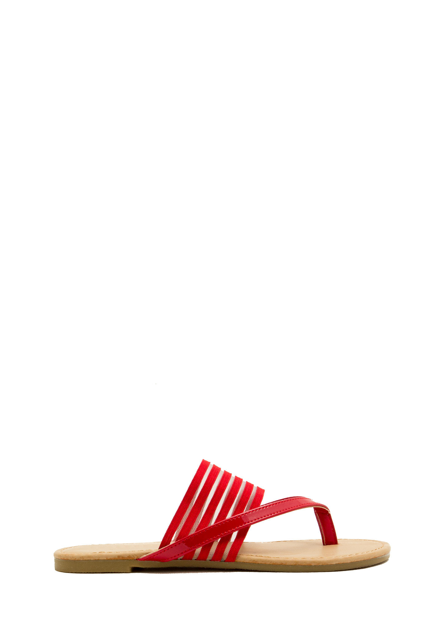 Show Ur Stripes Thong Sandals RED