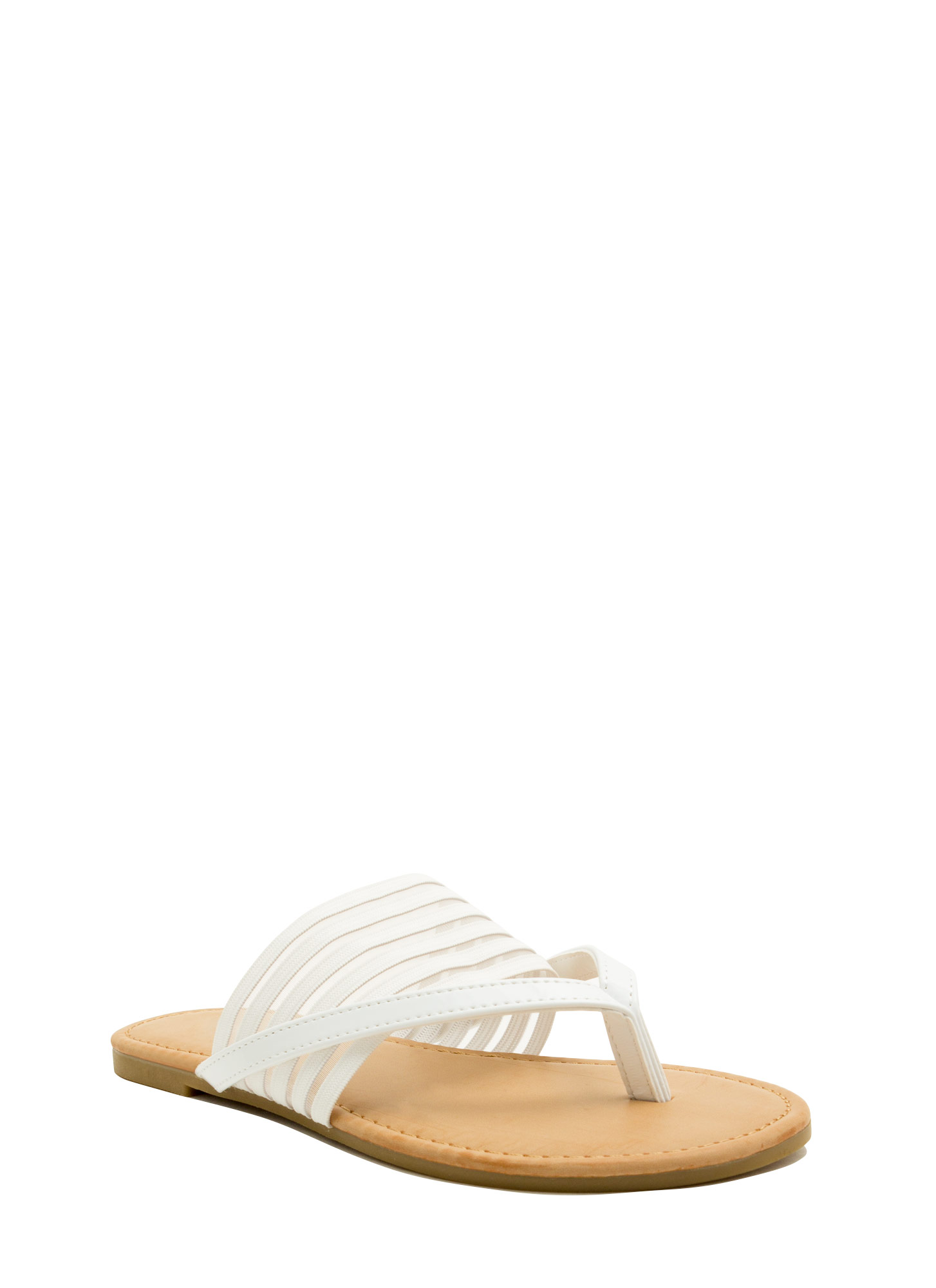 Show Ur Stripes Thong Sandals WHITE