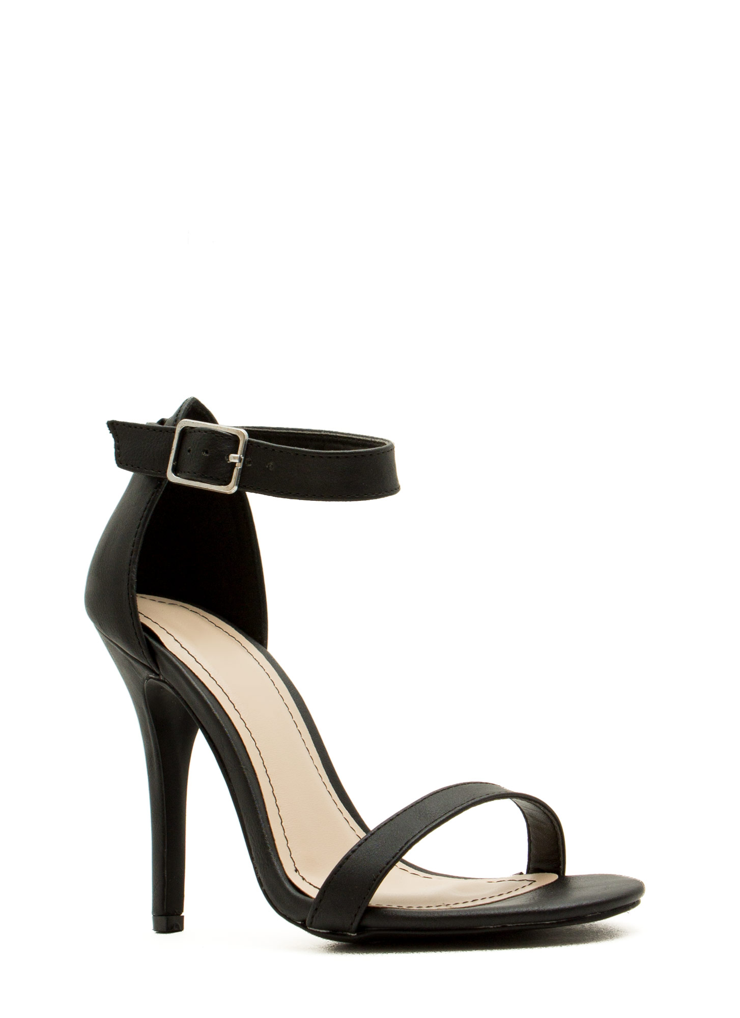 Strap-A-Thon Faux Leather Heels BLACK