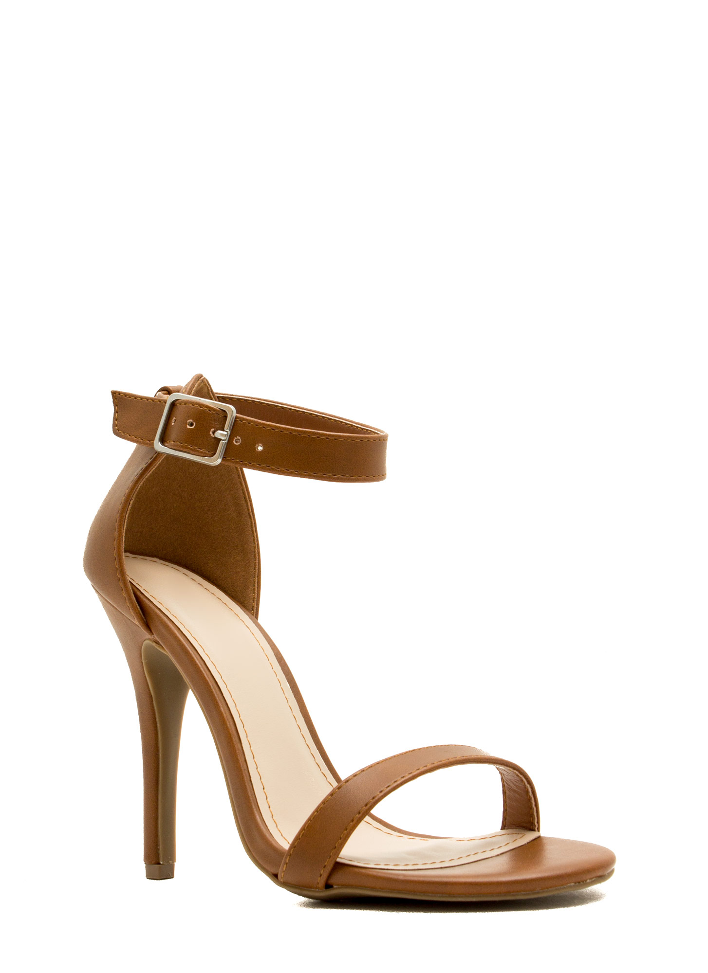 Strap-A-Thon Faux Leather Heels CHESTNUT