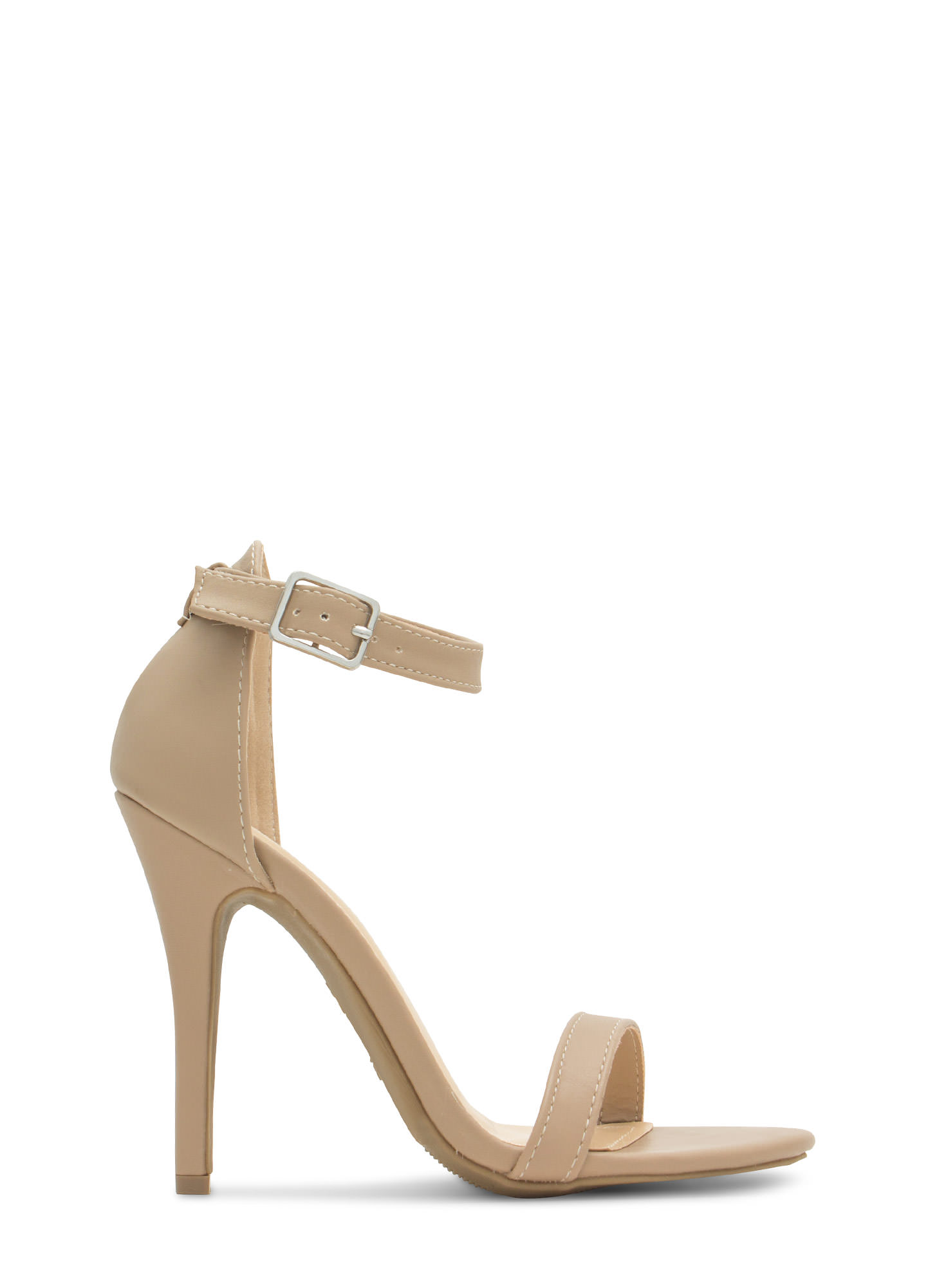 Strap-A-Thon Faux Leather Heels NUDE