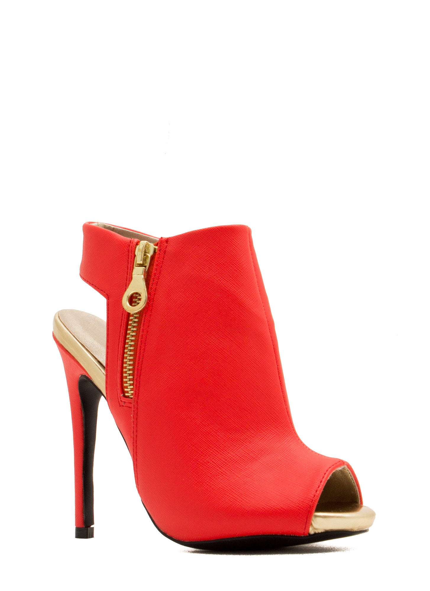 Back That Thang Up Rear Cut-Out Heels TANGERINE