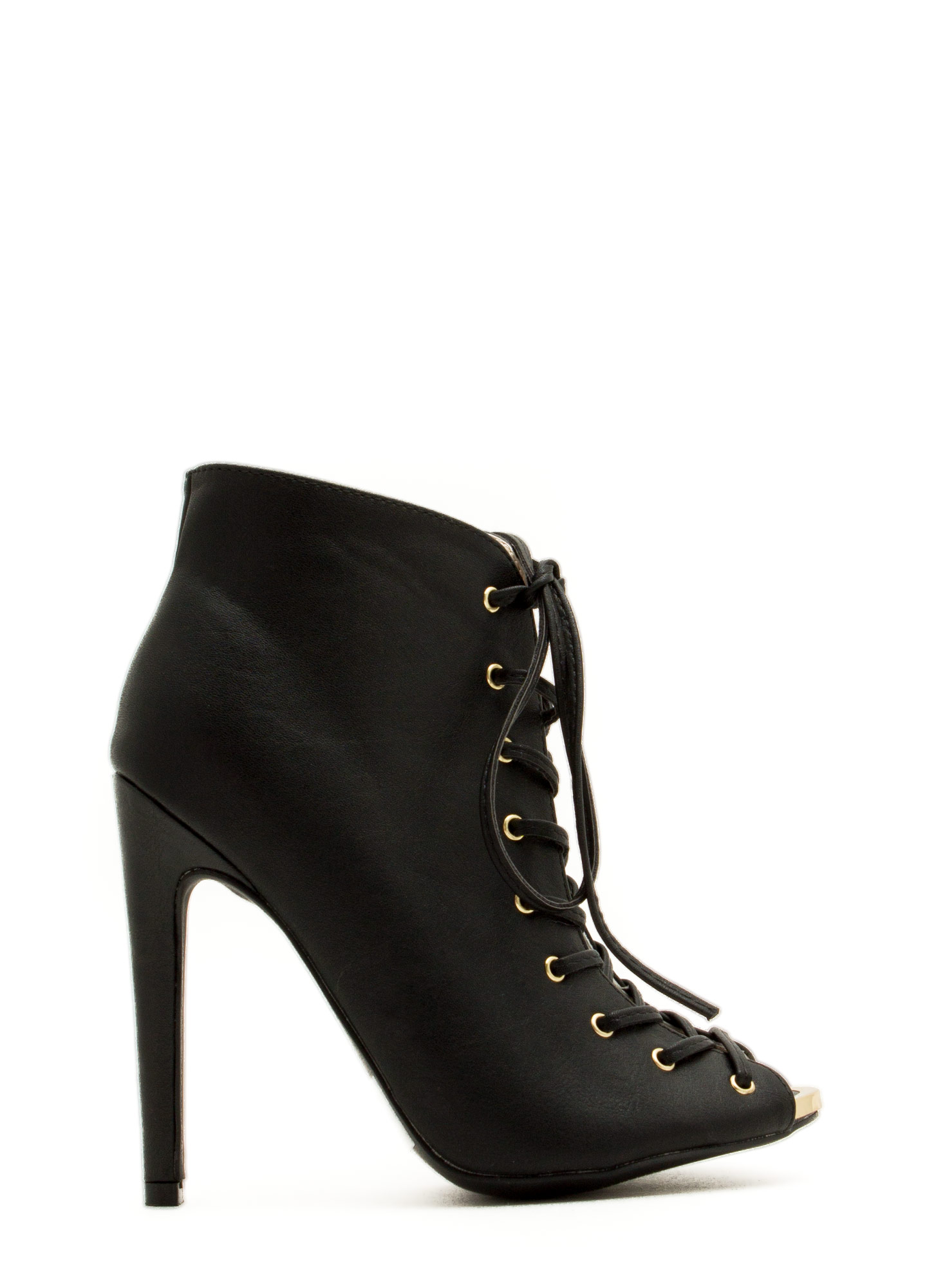 Laced The Test Metal Accent Heels BLACK