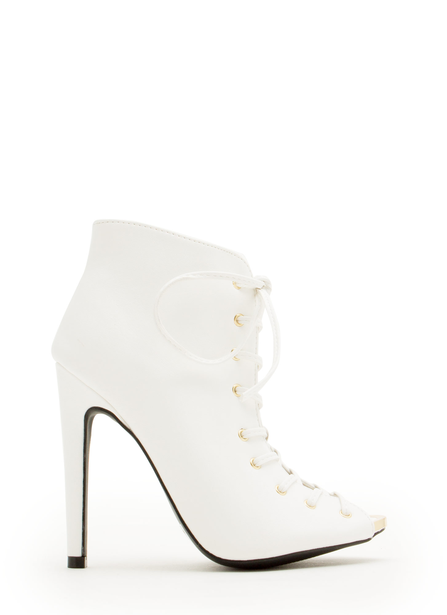 Laced The Test Metal Accent Heels WHITE
